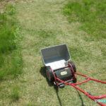 今年最初の芝刈り 手動芝刈り機で雑草もろとも芝を刈る